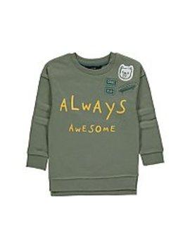 Khaki Always Awesome Slogan Crew Neck Sweatshirt by Asda