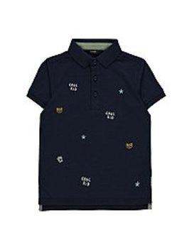 Navy Cool Kid Slogan Short Sleeve Polo Shirt by Asda