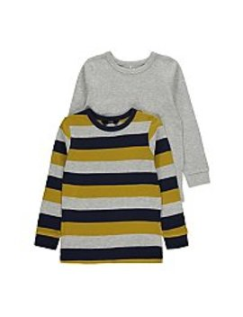 Grey Textured Stripe Long Sleeve Tops 2 Pack by Asda