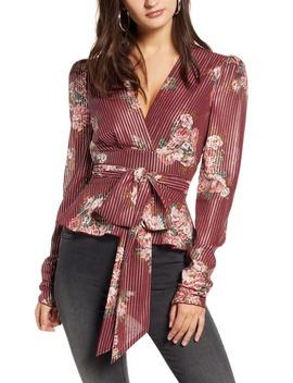 Montauk Floral Metallic Stripe Tie Waist Blouse by Wayf