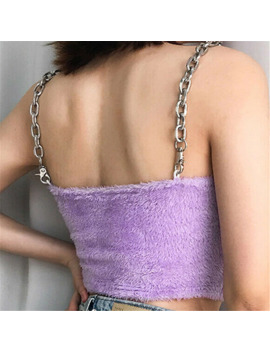 Sexy Women Fashion Summer Chain Sling Fur Type Purple Casual Tank Crop Tops Vest Sleeveless Short Tee Shirt S L by Ali Express.Com