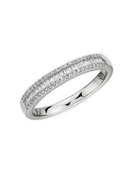 Baguette Cut & Round Pavé Diamond Channel Wedding Band In 14k White Gold  I/Si2 (1/4 Ct. Tw.) by Blue Nile