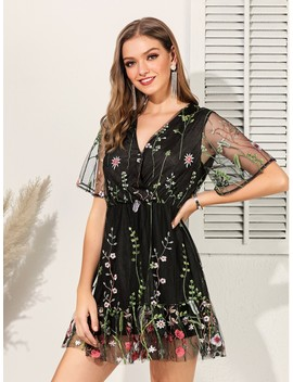 Embroidery Mesh Ruffle Hem Dress by Shein