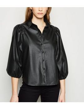 Black Coated Leather Look Balloon Sleeve Shirt by New Look
