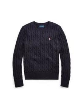 Girls Classic Cable Knit Jumper   Navy by Ralph Lauren