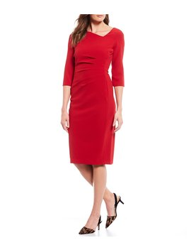 Asymmetrical Neckline Side Ruched Sheath Dress by Donna Karan