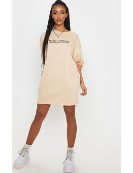 Prettylittlething Fawn Aw19 Oversized T Shirt Dress by Prettylittlething
