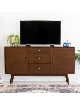 "Mid Century Modern 60"" Walnut Wood Tv Stand by Pier1 Imports"