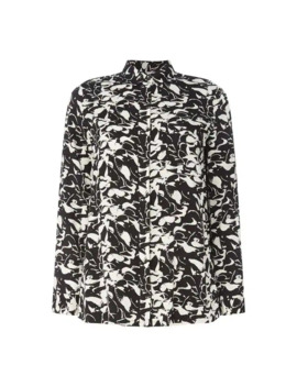 Full Print Button Top by Calvin Klein