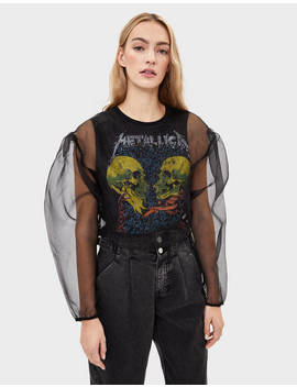Metallica Organza Top by Bershka
