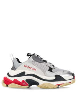 Triple S Logo Embroidered Sneakers by Balenciaga