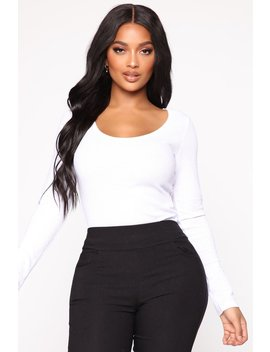 First Thing Thermal Scoop Neck Tee   White by Fashion Nova
