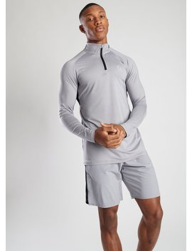 Gk Sport Rush 1/4 Zip Funnel Neck   Silver Grey by The Gym King