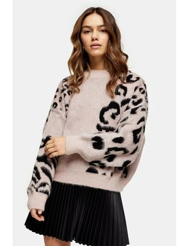 Petite Knitted Spliced Animal Print Jumper by Topshop