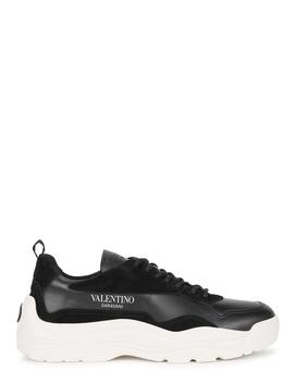 Gumboy Black Leather Sneakers by Valentino Garavani