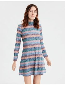 Ae Plush Striped Turtleneck Dress by American Eagle Outfitters