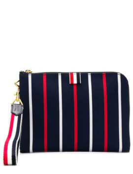 Banker Stripe Small Gusset Folio by Thom Browne