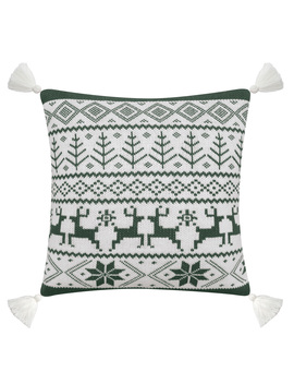 """Better Homes & Gardens Feather Filled Fair Isle Sweater Knit Decorative Throw Pillow With Tassels, 20"""" X 20"""" Green & White by Better Homes & Gardens"""