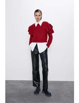 Sweater Com Mohair E LÃ Com Folhos by Zara