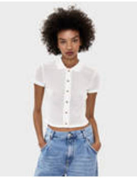 T Shirt Polo Avec Broderie Blanche by Bershka