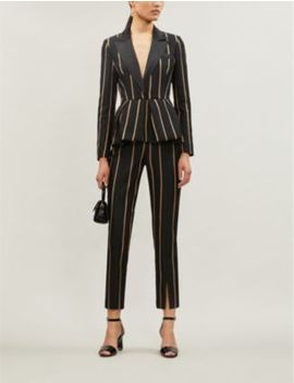 Striped Twill Jumpsuit by Self Portrait