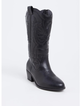 Black Faux Leather Stitched Tall Western Boot (Wide Width) by Torrid