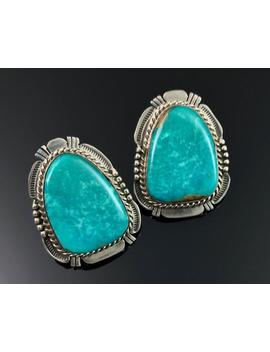 Kingman Turquoise Sterling Silver Navajo Native American Earrings Signed   Ddv by Etsy