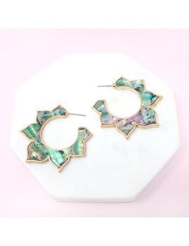Abalone Earrings, Hoop Earrings, Geometric Earring, Statement Earrings, Natural Shell Earring, Fashion Hoop Earrings by Etsy