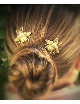 Bee Hair Pin Gold Bumble Bee Bobby Pins Brass Hair Pins Bee Hair Clips by Etsy