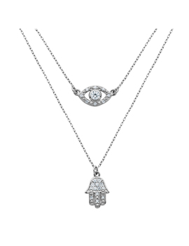 """Sterling Silver Cubic Zirconia Hamsa Evil Eye Layered Necklace, 16+2"""" by Prime Art & Jewel"""