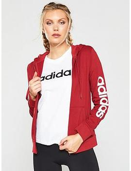 Essentials Linear Full Zip Hoodie   Red by Adidas