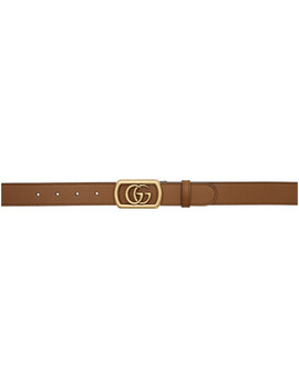 Brown Framed Double G Belt by Gucci