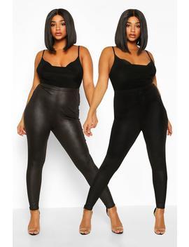 Plus 2 Pack Legging & Basic Legging by Boohoo