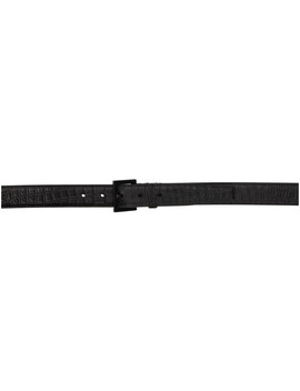 Black Croc Square Monogramme Belt by Saint Laurent
