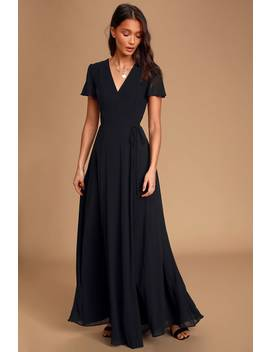 You're My Everything Black Short Sleeve Wrap Maxi Dress by Lulus