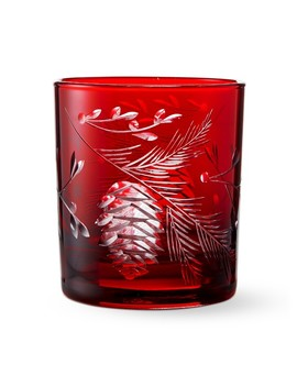 Red Pinecone Cut Double Old Fashioned Glasses by Williams   Sonoma
