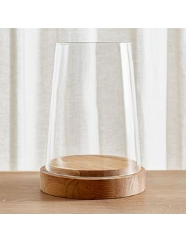 "Ellery Hurricane 13.5"" Oak Candle Holder by Crate&Barrel"