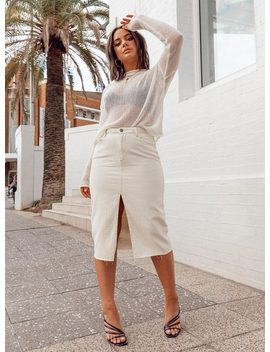 Blanco Denim Midi Skirt by Bella Fiori X Princess Polly
