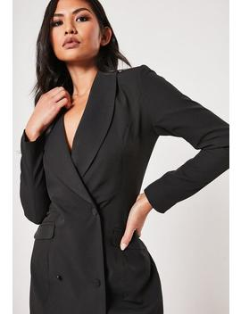 Robe Blazer Boutonnée Noire by Missguided