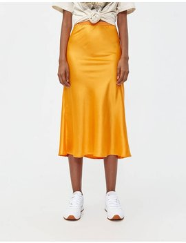 Marina Slip Skirt In Neon Orange by Which We Want Which We Want