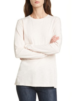 Long Sleeve Cotton Blend Crewneck Top by Nordstrom Signature
