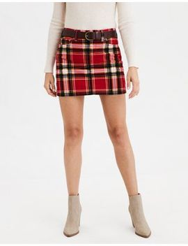 Ae High Waisted Corduroy Plaid Mini Skirt by American Eagle Outfitters