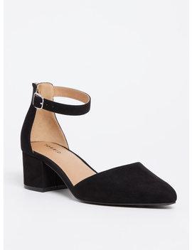 Black Faux Suede D'orsay Pointed Block Heel (Wide Width) by Torrid