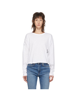 White Cropped Tattoo Embroidered Long Sleeve T Shirt by Rag & Bone