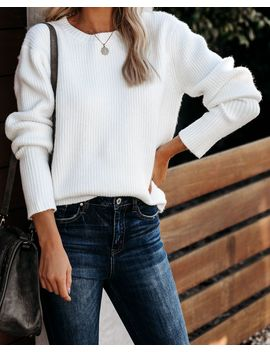 Warm Company Ribbed Knit Sweater   Off White by Vici