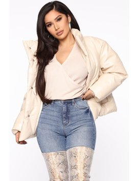 Happily Leather After Puffer Jacket   Ivory by Fashion Nova
