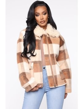 Gettin Checks Faux Fur Jacket   Taupe/Combo by Fashion Nova