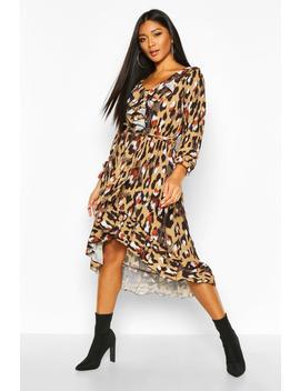 Leopard Print Ruffle Tie Waist Midi Dress by Boohoo