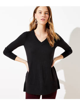 Luxe Knit V Neck Tunic Sweater by Loft