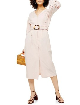 Cutwork Long Sleeve Midi Dress by Topshop